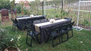 Barrel chairs, americana chairs, round tables, trestle tables